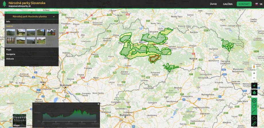 Interaktívna mapa slovenských národných parkov