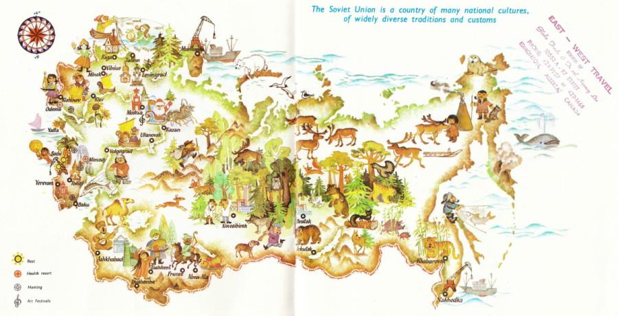 Sovietsky zväz mapa cestovného ruchu