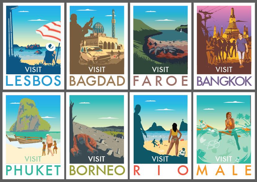 Plagáty, ktoré turistom ukazujú odvrátenú stranu