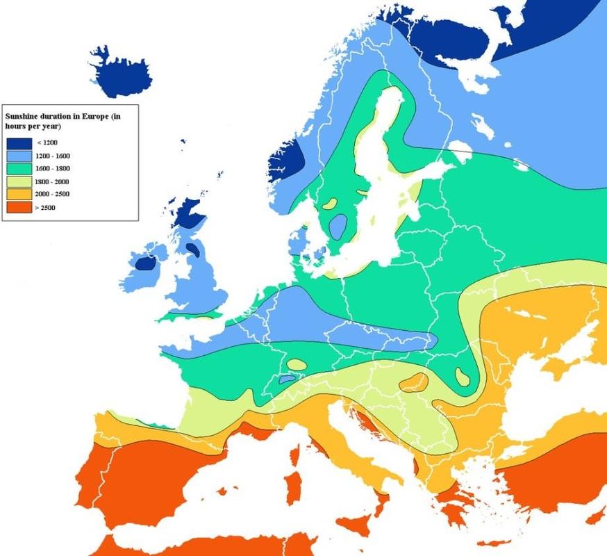 Kde je vEurópe počas roka najslnečnejšie?