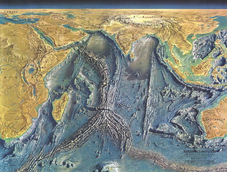 Mapa indického oceánu zNational Geographic vroku 1967