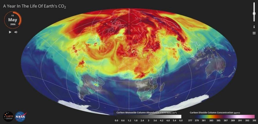 produkcia CO2 vo svete mapa