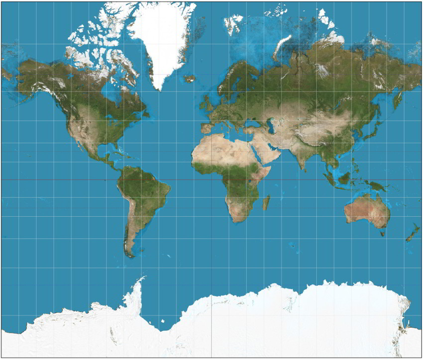 Mercatorove zobrazenie mapa