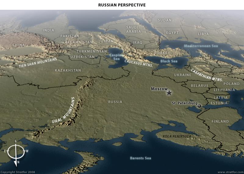Pohľad namapu zperspektívy Ruska