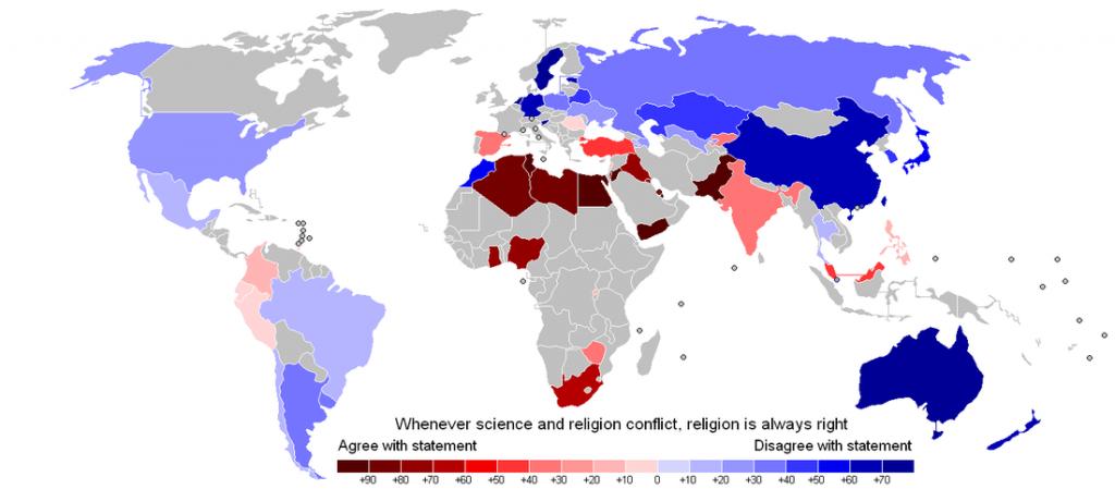 Kde ľudia viac veria náboženstvu akovede?