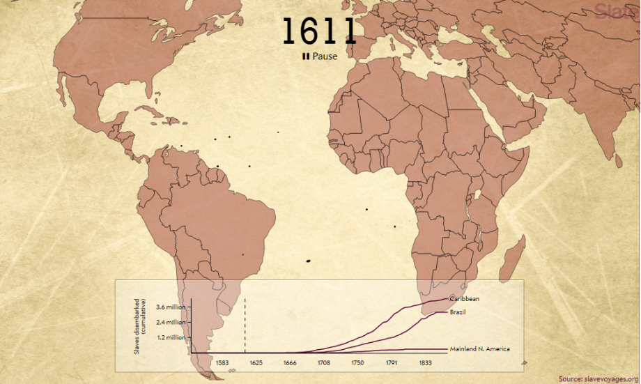 Atlantický obchod sotrokmi načasozbernej mape