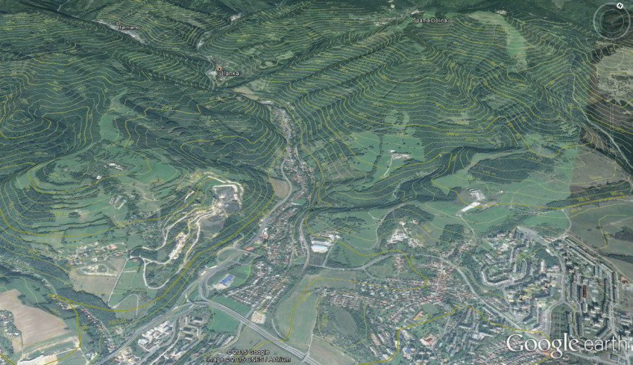 Google Earth vrstevnice