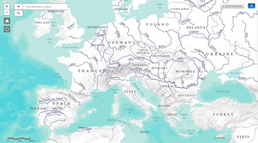 Rieky sveta naprehľadnej mape