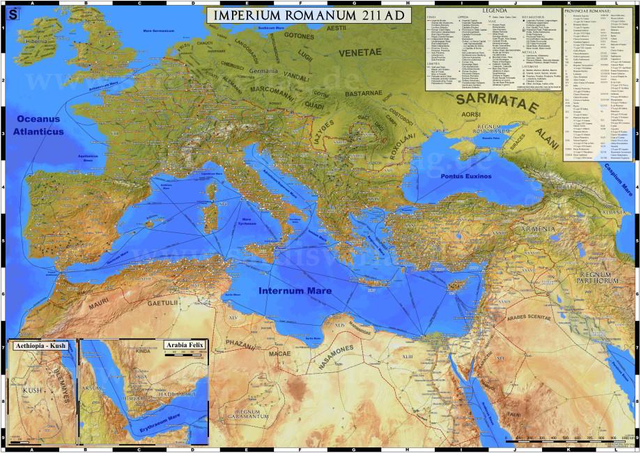 Podrobná mapa Rímskej ríše včasoch jej najväčšieho rozmachu