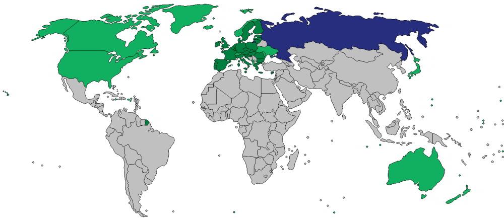 ekonomické sankcie Rusko mapa