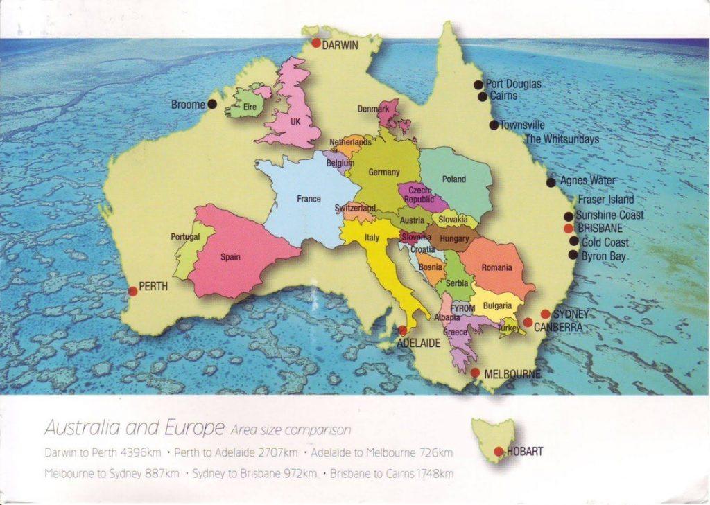 Austrália a Európa porovnanie mapa