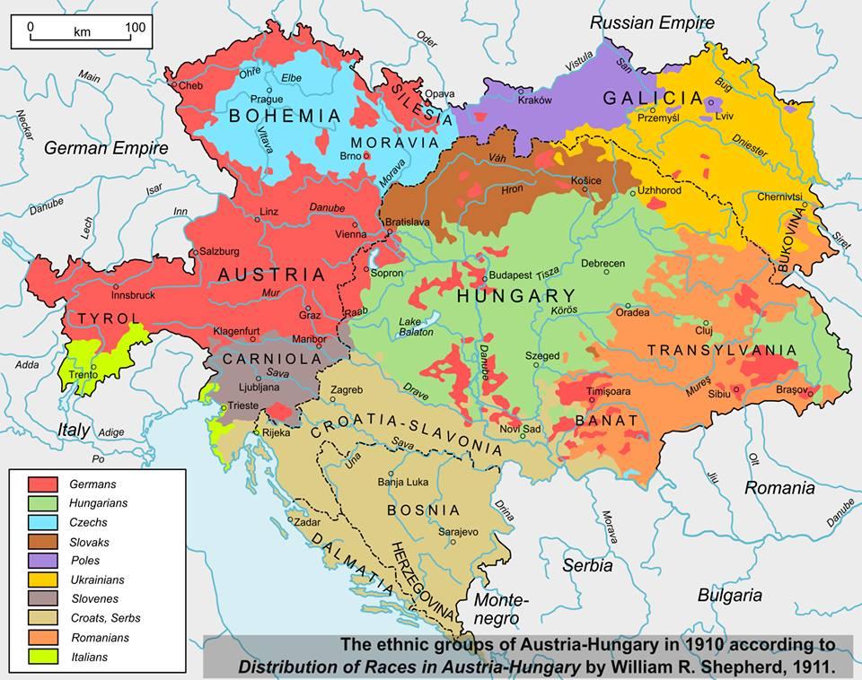 Rakúsko-Uhorska mapa národností
