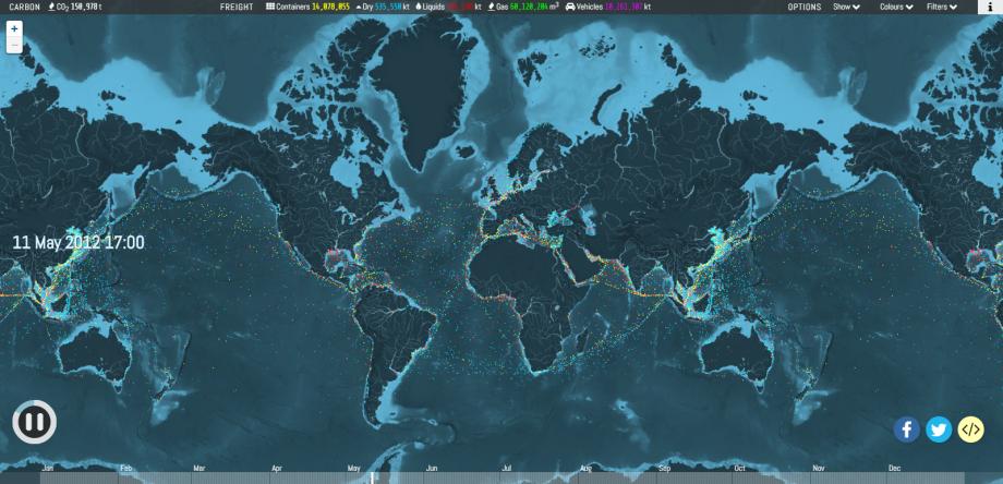 Odkiaľ akam? Pozrite si námornú dopravu vosvete naanimovanej mape