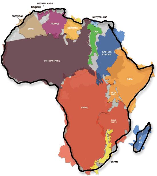 rozloha Afriky mapa