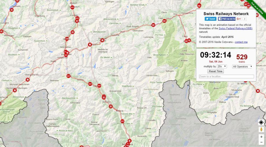 Mapy aktuálnej polohy vlakov