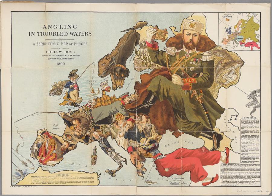 Mapová karikatúra Európy zroku 1899