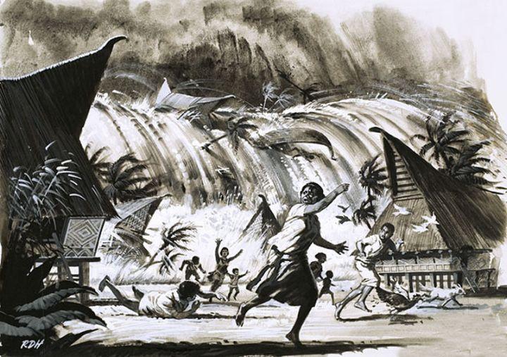 Simulácia vzniku cunami napríklade výbuchu sopky Krakatoa