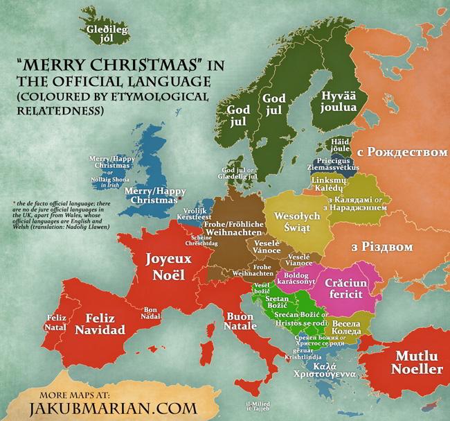 ako popriať veselé Vianoce v európskych jazykoch
