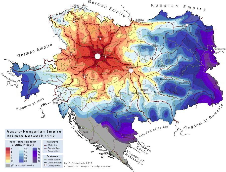 Koľko trvala cesta vlakom zViedne dorôznych končín Rakúska-Uhorska