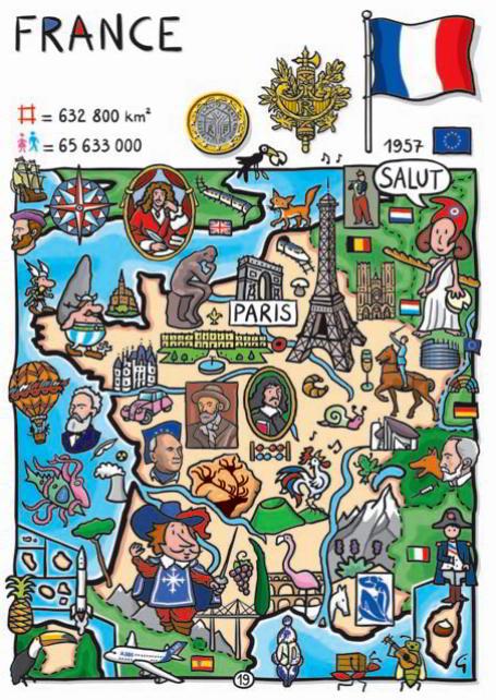 kreslená mapa Francúzska