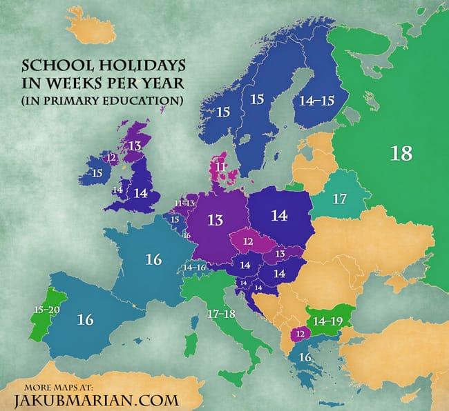 ako dlho trvajú školské prázdniny Európa mapa