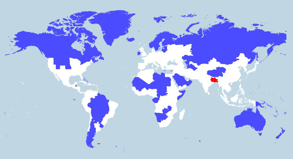 Červení vs. modrí. Rozlohou neporovnateľné oblasti sveta srovnakým počtom obyvateľov