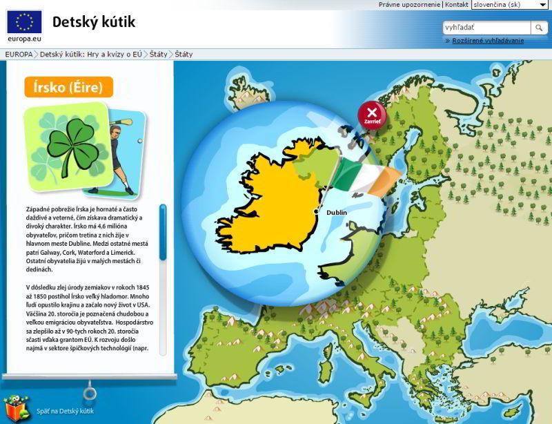 Interaktívna mapa Európskej únie predeti