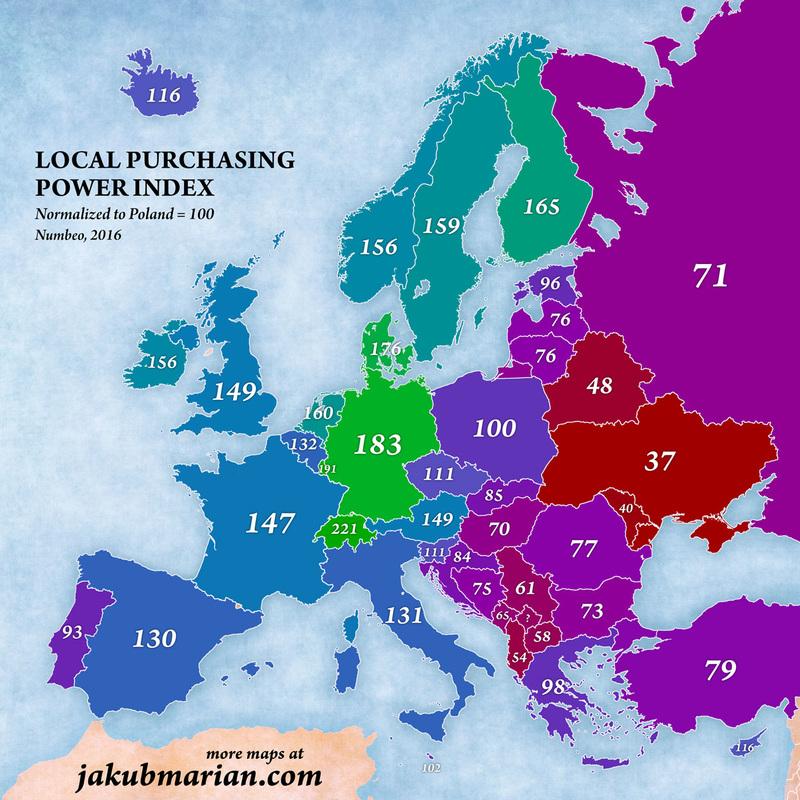 Koľko si môžu zosvojich platov dovoliť obyvatelia európskych štátov?