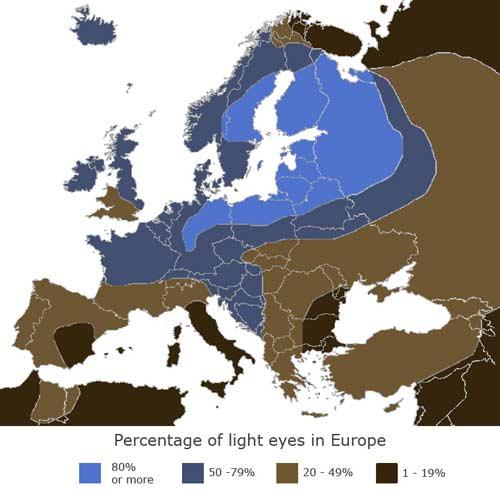 farba očí mapa Európy
