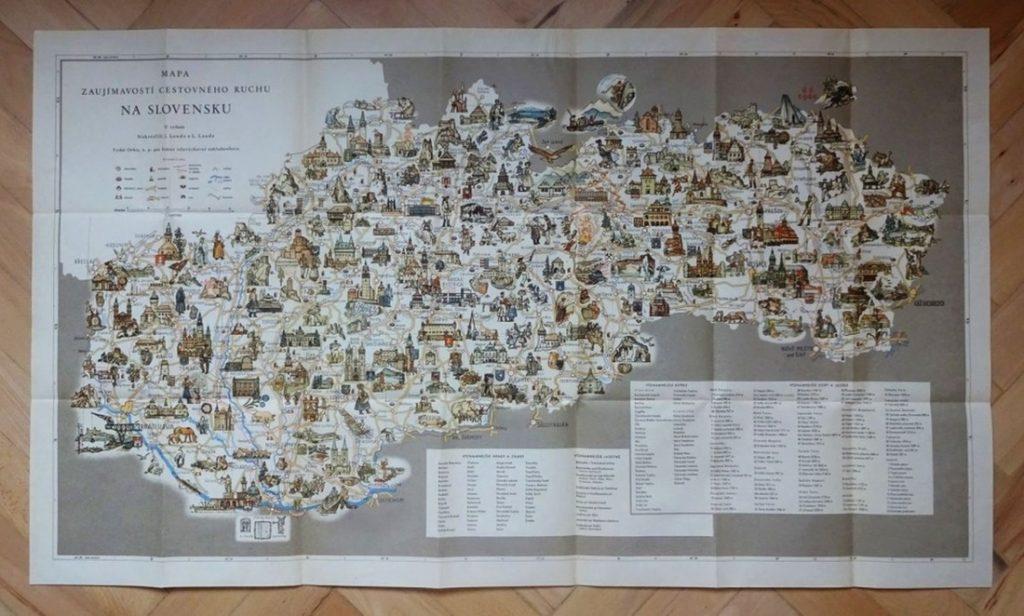 Mapa zaujímavostí cestovného ruchu spredpol storočia je pastvou preoči