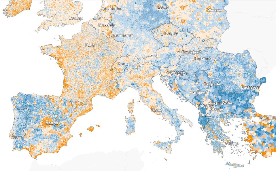 Kde vEurópe počet obyvateľov rastie akde klesá? Podrobná mapa súdajmi ažpoúroveň obcí