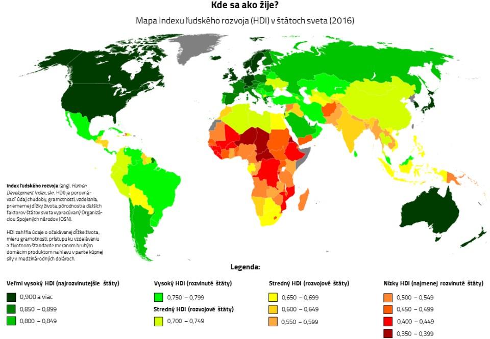 rozvoj štátov sveta mapa