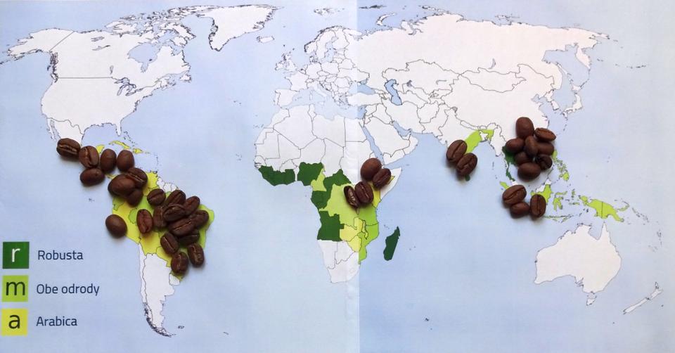 produkcia kávy vo svete mapa