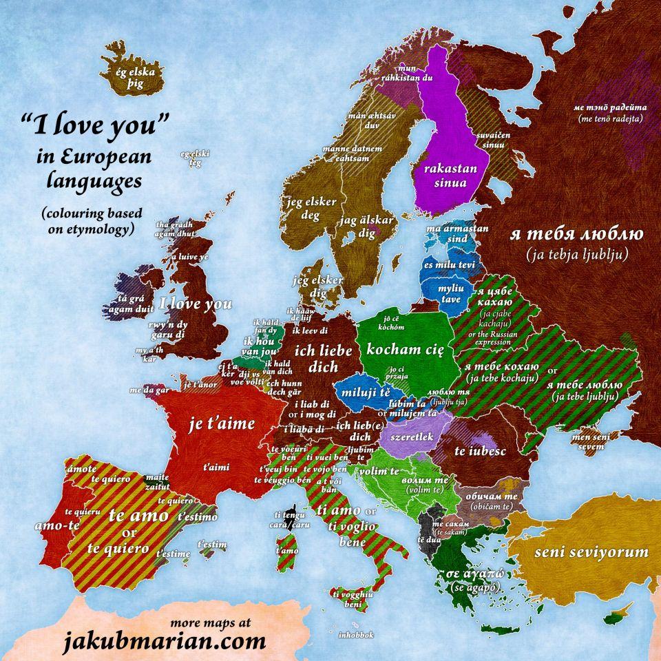 """Ako povedať """"Ľúbim ťa""""vštátoch Európy?"""