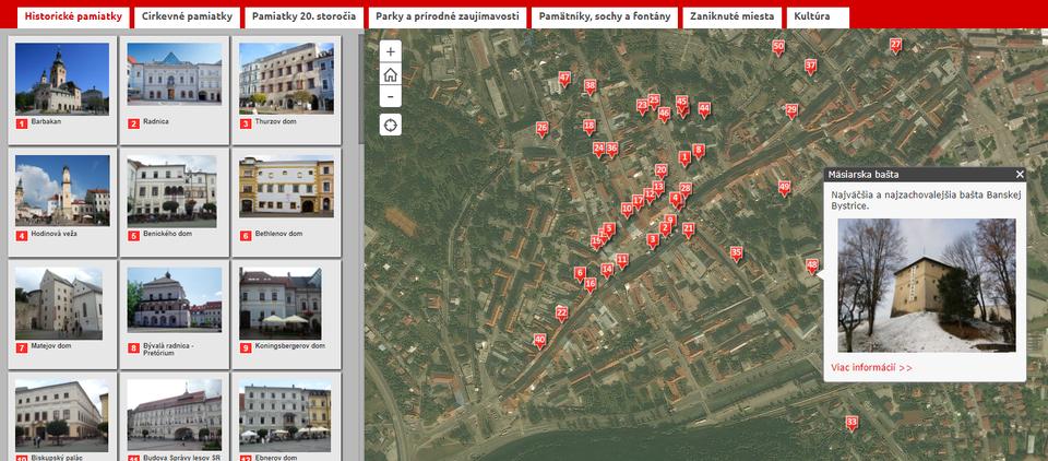 Banská Bystrica vinteraktívnej mape avedomostných kvízoch Bystrický krepáň