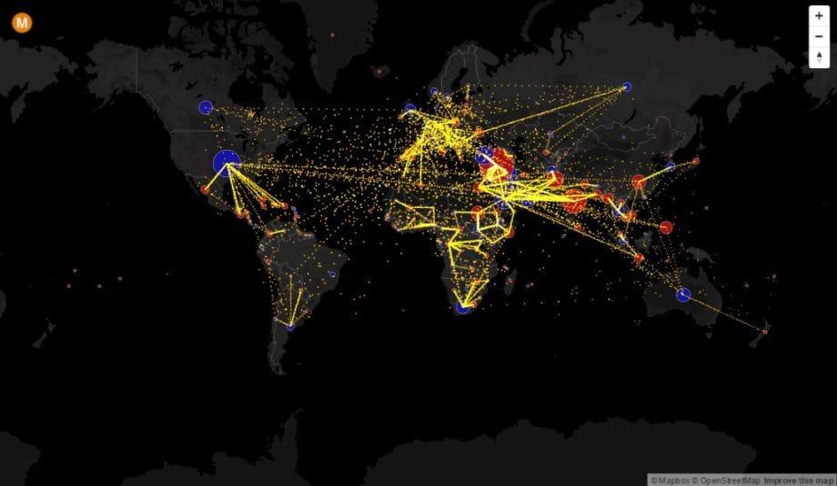 mapa migrácie vo svete