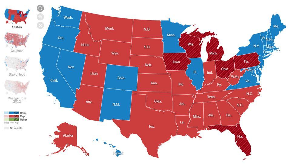 americké prezidentské voľby mapa