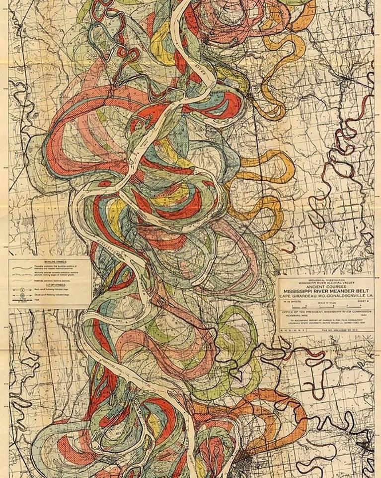 Mapa rieky Mississippi je akomaľba zvýstavy moderného umenia
