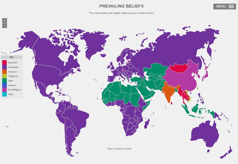 Interaktívna mapa svetových náboženstiev vhodná preškolské využitie