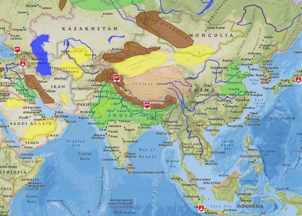 Vodstvo apovrch Ázie (interaktívna mapa)