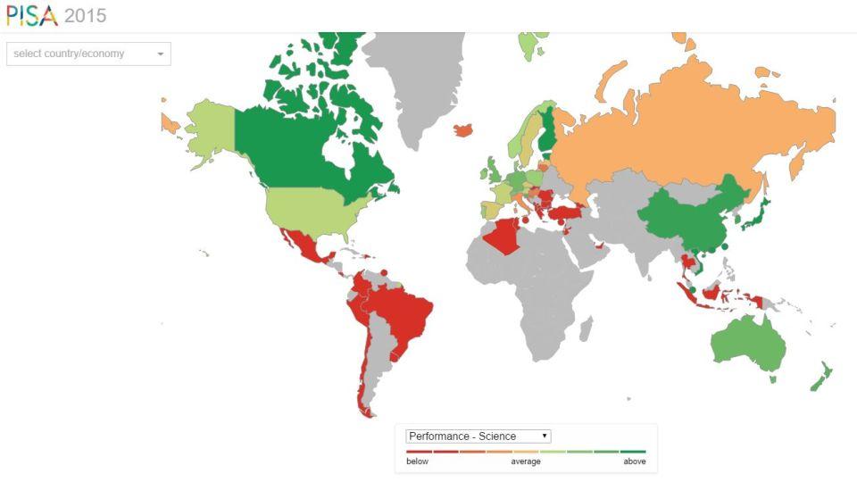 Mapa výsledkov medzinárodného testovania PISA 2015