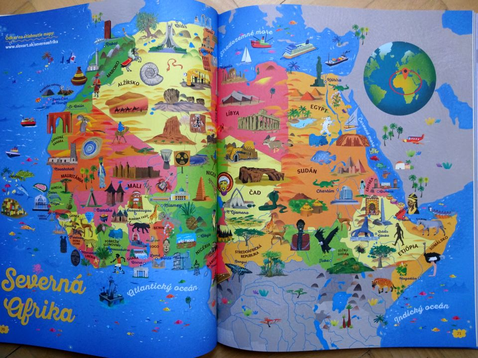 Afrika kreslená mapa