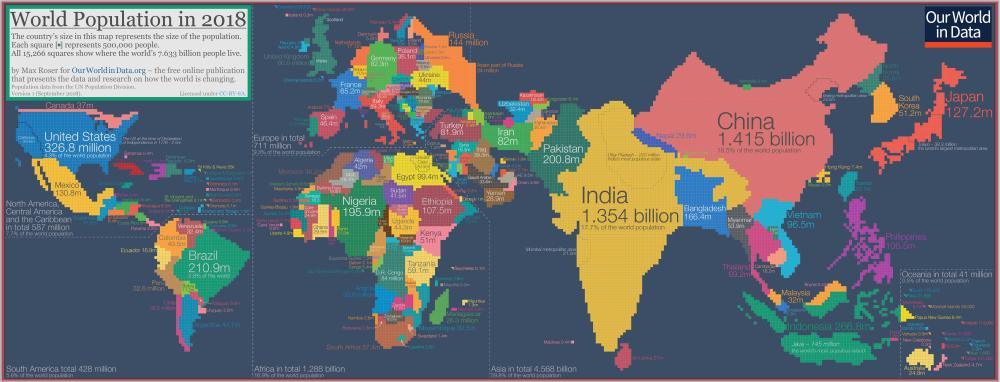 Kde žijú ľudia sveta? Populačný kartogram prerok 2018
