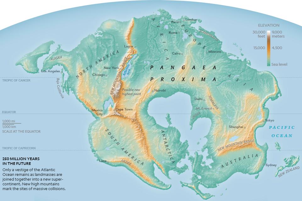 Zem za250 miliónov rokov. Superkontinent Pangea Proxima
