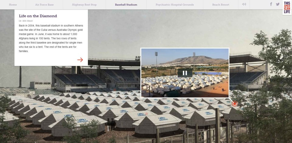 Utečenecký tábor nabejzbalovom štadióne