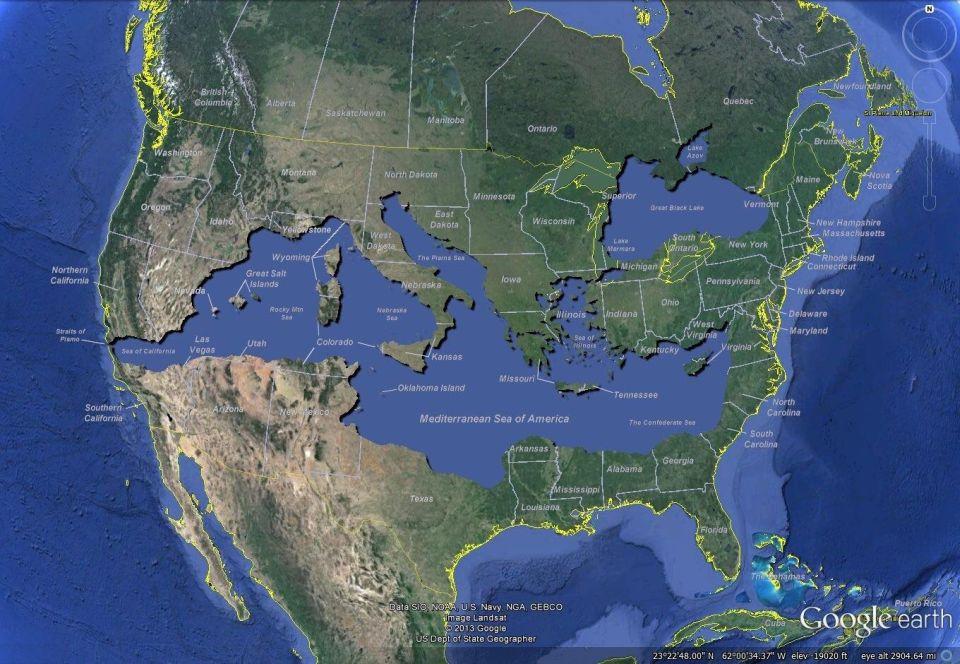 Ak by bolo Stredozemné more vSpojených štátoch