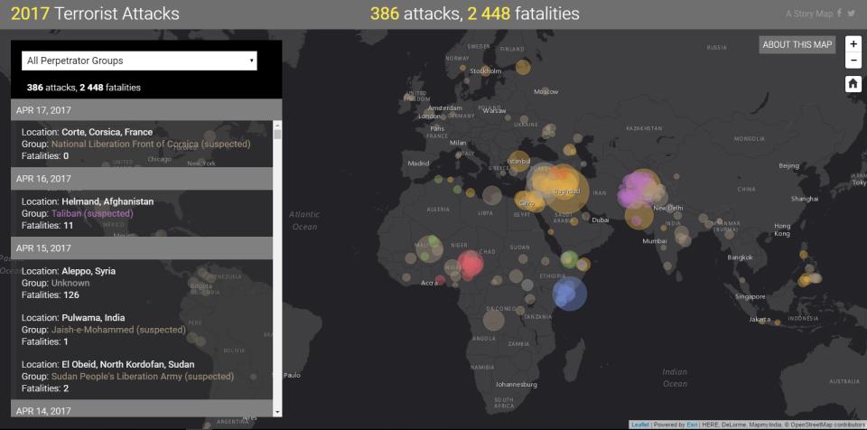 Všetky teroristické útoky roku 2017 najednej mape
