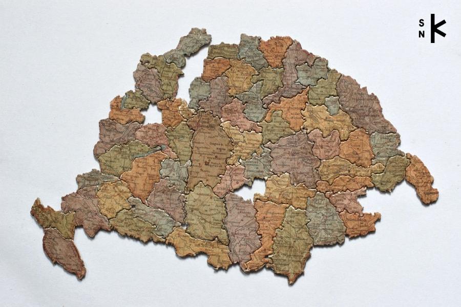 Storočné mapové puzzle Uhorska vzbierkach Literárneho múzea