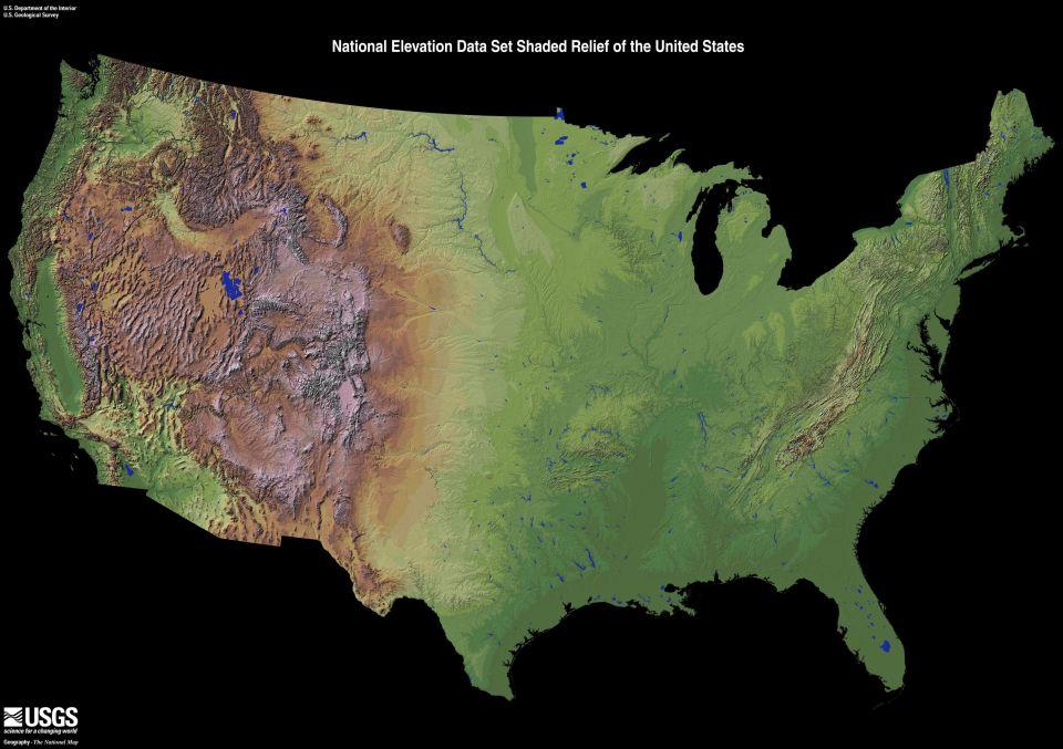 Podrobná mapa povrchu Spojených štátov amerických