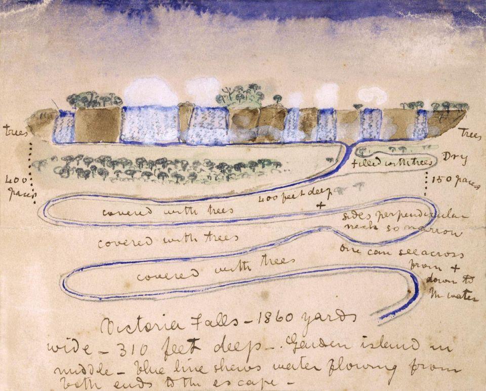 Viktóriine vodopády vnáčrte Davida Livingstona
